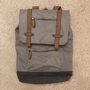 Gray/Tan Suede-like Backpack w/Laptop Sleeve